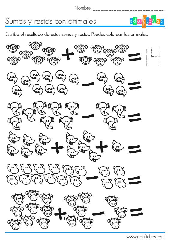 sumas y restas ejercicio grafico