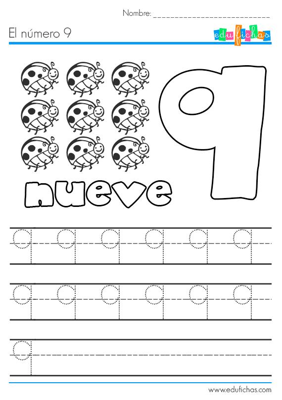 número 9 preescolar